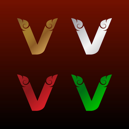 Letter V icon with Thai art style, Metallic glossy texture, gold and silver, red and green. Beautiful luxury, Thai vintage icon for your corporate identity.