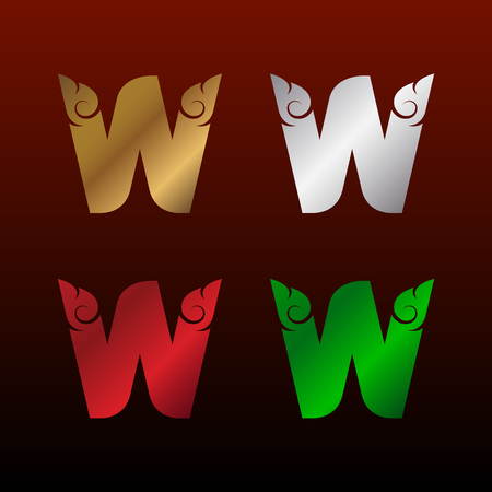 Letter W icon with Thai art style, Metallic glossy texture, gold and silver, red and green. Beautiful luxury, Thai vintage icon for your corporate identity.