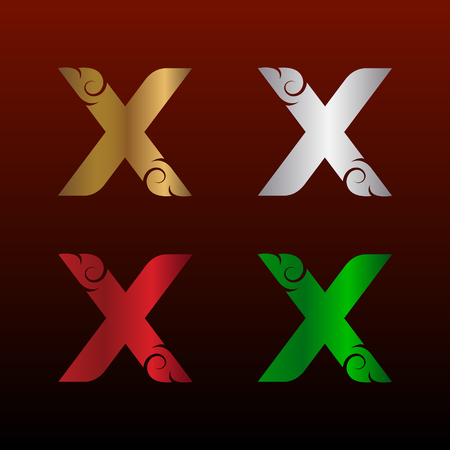 Letter X icon with Thai art style, Metallic glossy texture, gold and silver, red and green. Beautiful luxury, Thai vintage icon for your corporate identity. Illusztráció