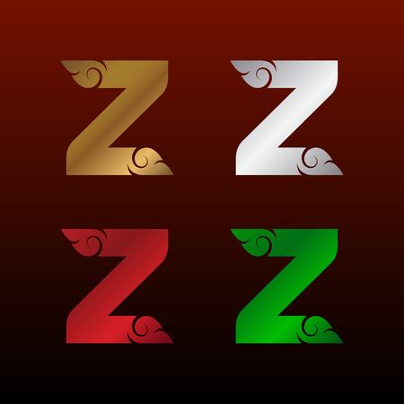 Letter Z with Thai art style, Metallic Glossy texture, Gold and Silver, Red and Green, Beautiful Luxury, Thai vintage for your Corporate identity.
