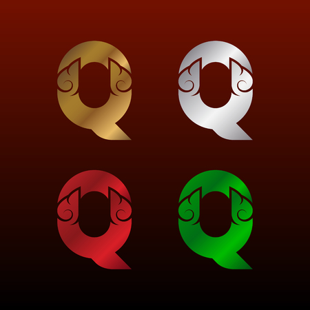 Letter Q with Thai art style, Metallic Glossy texture, Gold and Silver, Red and Green, Beautiful Luxury, Thai vintage for your Corporate identity Иллюстрация