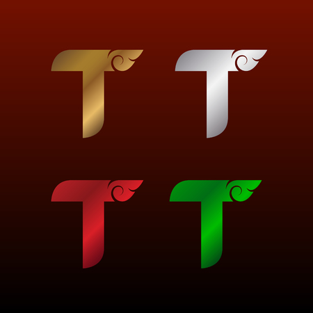 Letter T  with Thai art style, Metallic Glossy texture, Gold and Silver, Red and Green, Beautiful Luxury, Thai vintage for your Corporate identity