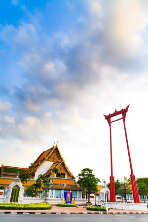 giant swing with cloudy sky that is in front of wat sutat Stock Photo - 8064379
