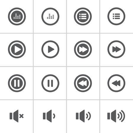 단일 개체: 오디오 및 음악 대담한 아이콘 세트, 플랫 디자인 아이콘, 각 아이콘은 하나의 목적 (그룹 경로)