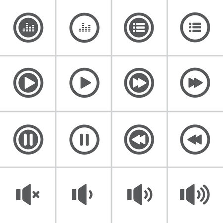 playlist: audio and music bold icon set, flat design icon, each icon is a single object (group path),  vector eps10