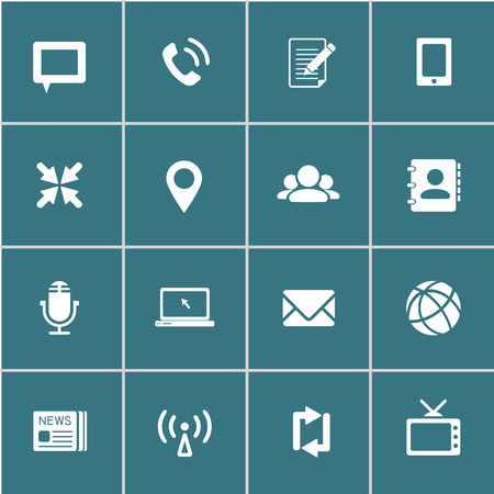 communication icons, each icon is a single object (compound path) Vector