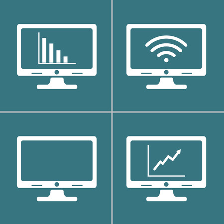 단일 개체: computer screen icons, each icon is a single object (compound path)