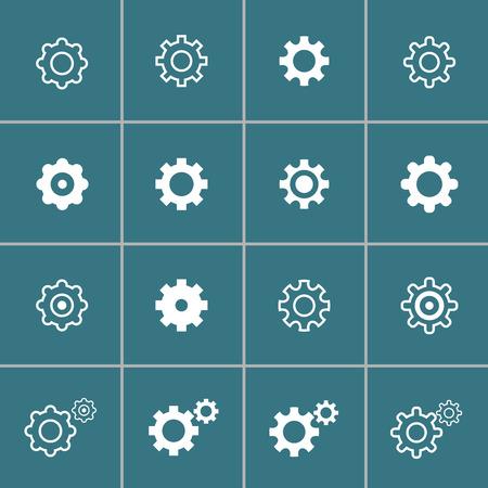 단일 개체: flat design setting icon set, each icon is a single object (compound path) 일러스트