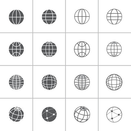 단일 개체: 지구본 아이콘 설정, 각 아이콘은 단일 개체 (컴파운드 패스), 벡터 eps10입니다
