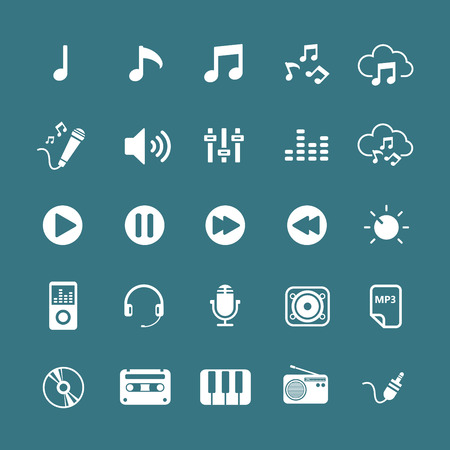 audio mixer: music icon set, each icon is a single object (compound path), vector eps10