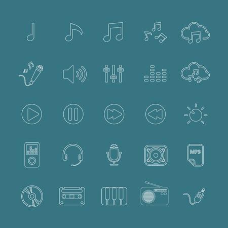단일 개체: music icon set line version, each icon is a single object (compound path), vector eps10