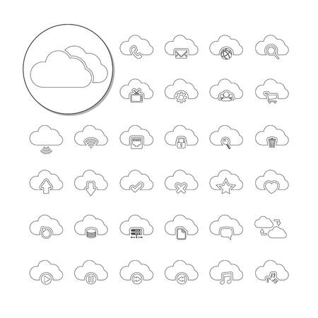 단일 개체: cloud computing icon set, line version, each icon is a single object  compound path , vector eps10