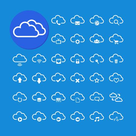 단일 개체: cloud computing icon set, each icon is a single object  compound path , vector eps10
