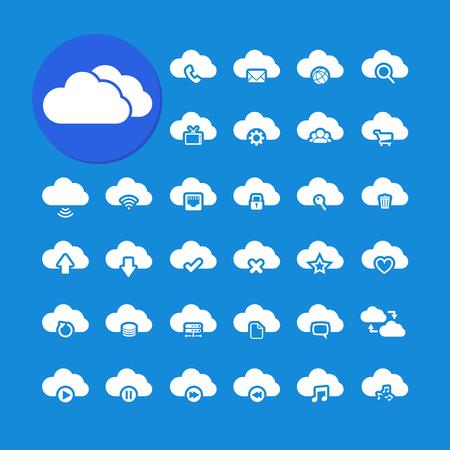 단일 개체: 클라우드 컴퓨팅 아이콘 설정, 각 아이콘은 단일 목적 화합물 경로, 벡터 eps10입니다