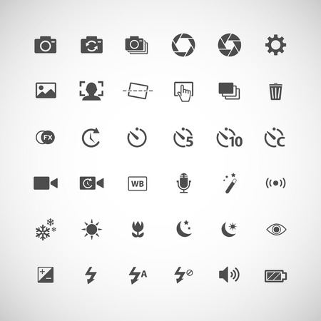 big timer: camera icon set, each icon is a single object  compound path , vector eps10