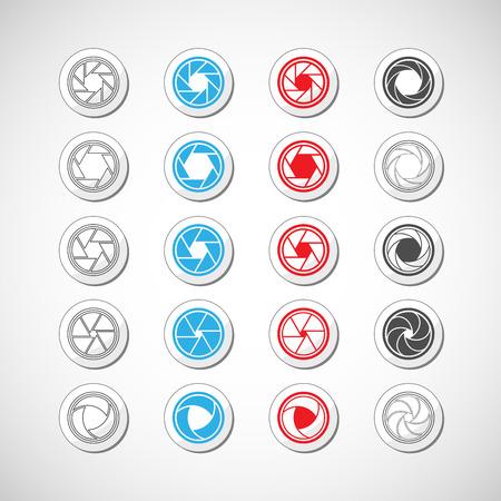 len: camera shutter icon set, vector eps10  Illustration