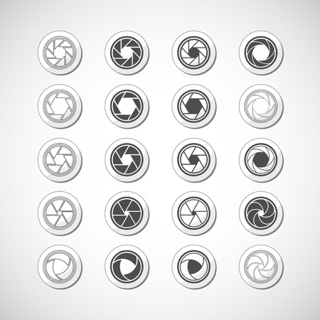 snaps: camera shutter icon set, vector eps10  Illustration