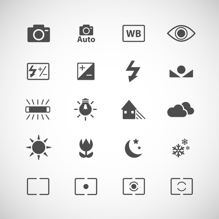 evaluative: camera icon set, each icon is a single object (compound path), vector eps10