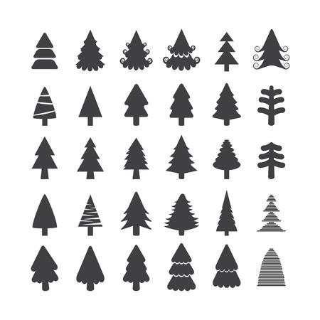 단일 개체: 크리스마스 트리 아이콘 설정, 각 아이콘은 단일 개체 (컴파운드 패스), 벡터 eps10입니다. 일러스트