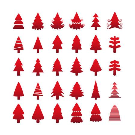 단일 개체: 크리스마스 트리 아이콘 설정, 각 아이콘은 단일 개체 (컴파운드 패스), 벡터 eps10입니다