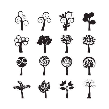 단일 개체: abstract tree icon set, each icon is a single object (compound path), vector eps10 일러스트
