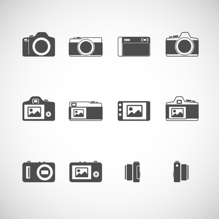 slr camera: camera icon set, each icon is a single object (compound path), vector eps10