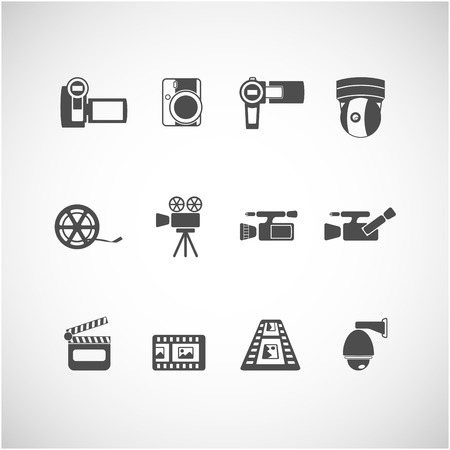 handycam: video camera and cctv icon set Illustration