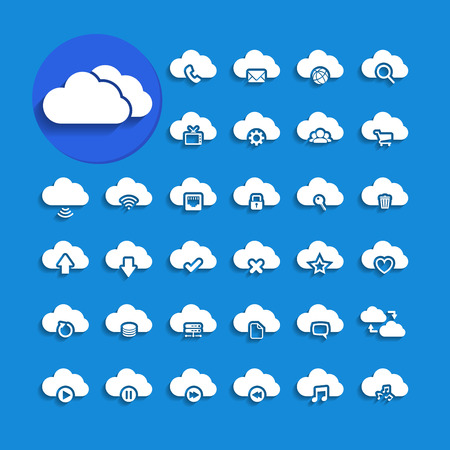 cloud storage: cloud computing with shadow icon set