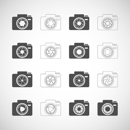 len: camera shutter icon set
