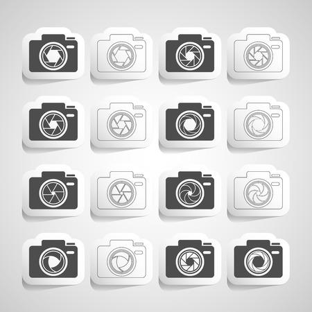 light zoom: camera shutter sticker icon set Illustration