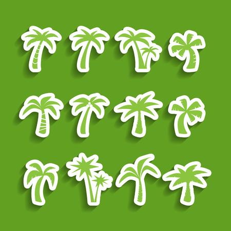 palmetto: coconut tree icon set Illustration