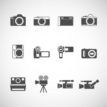 camera icon set, each icon is a single object (compound path), vector eps10 Vector