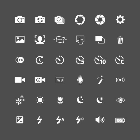 auto filter: camera icon set, each icon is a single object (compound path), vector eps10