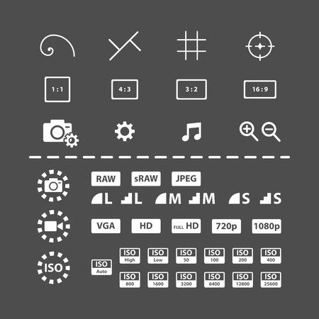 단일 개체: camera setting icon set, each icon is a single object (compound path), vector eps10