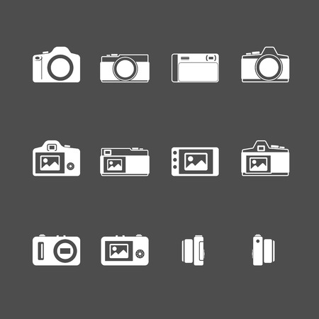 handycam: camera icon set, each icon is a single object (compound path), vector eps10