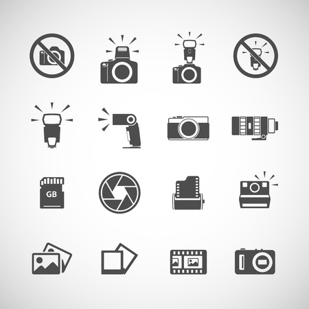 telephoto: camera and flash icon set, each icon is a single object (compound path), vector eps10