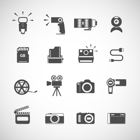 len: camera icon set, each icon is a single object (compound path), vector eps10