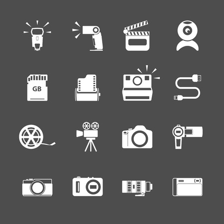 handy cam: camera icon set, each icon is a single object (compound path), vector eps10