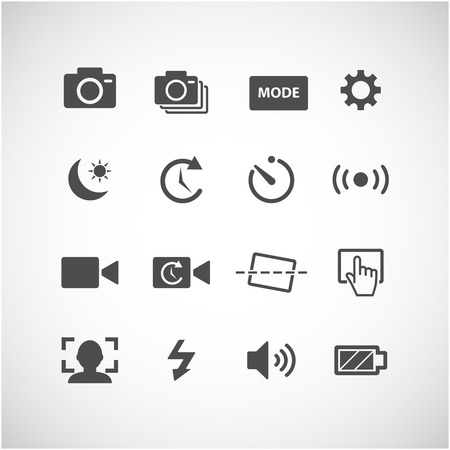 big timer: camera app icon set, each icon is a single object (compound path), vector eps10