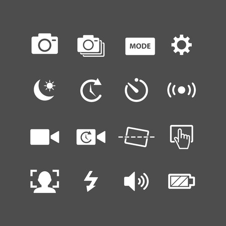 snaps: camera app icon set, each icon is a single object (compound path), vector eps10