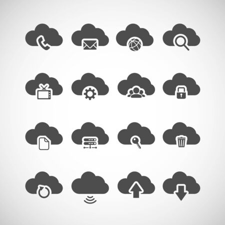 tv network: cloud computing icon set, each icon is a single object (compound path), vector eps10 Illustration