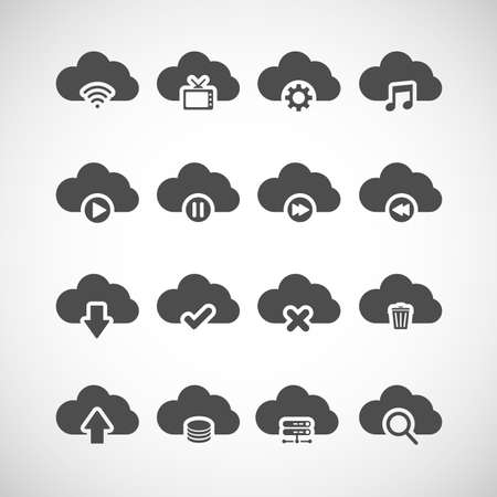 cloud storage: cloud computing icon set, each icon is a single object (compound path), vector eps10 Illustration
