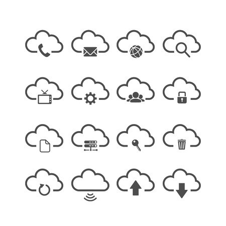 cloud computing icon set, each icon is a single object (compound path), vector eps10 Vector