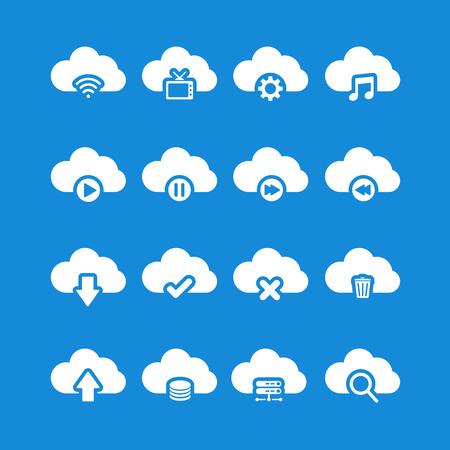 단일 개체: cloud computing icon set, each icon is a single object (compound path), vector eps10 일러스트