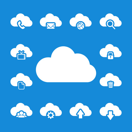 단일 개체: cloud computing icon set, each icon is a single object (compound path), vector eps10.