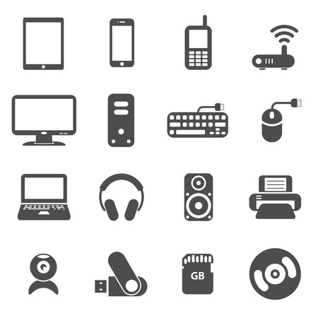 lcd monitor printer: computer components and gadget icon set, each icon is a single object (compound path), vector eps10 Illustration