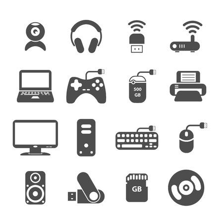 단일 개체: computer and accessory icon set, each icon is a single object (compound path), vector eps10 일러스트