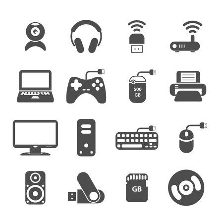 lcd monitor printer: computer and accessory icon set, each icon is a single object (compound path), vector eps10 Illustration