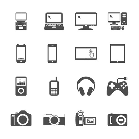 handycam: electronic devices icon set, vector eps10 .