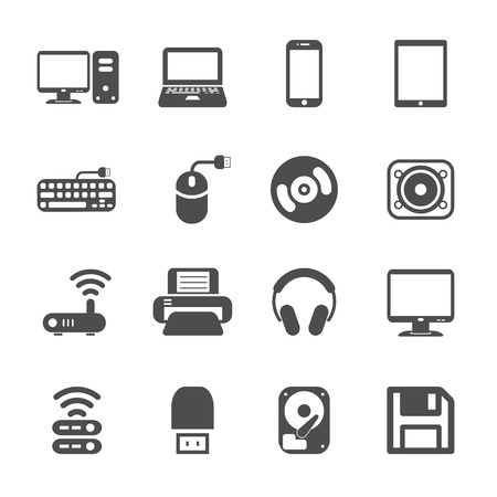 computer hardware icon set, vector eps10. Vector